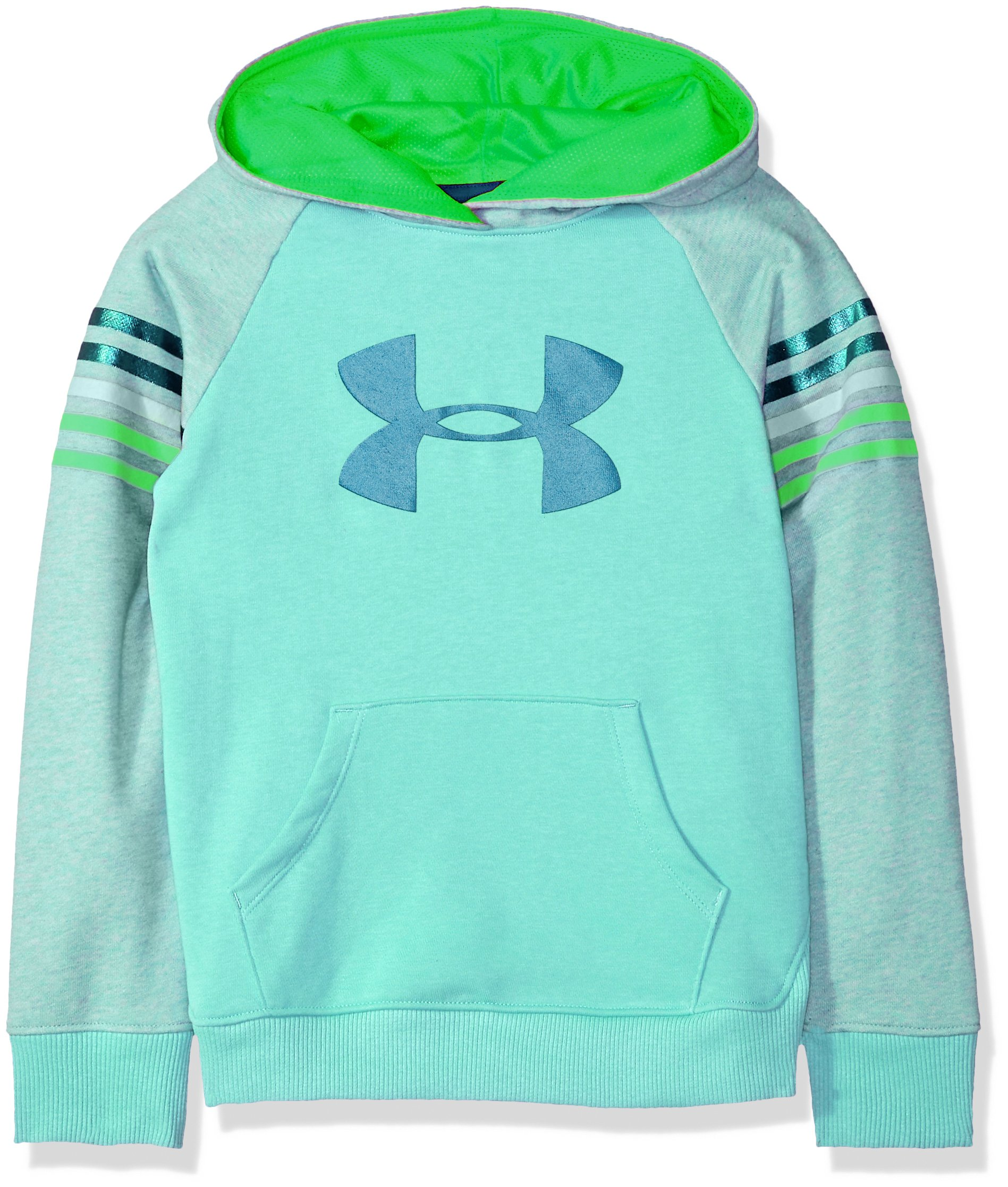 Under Armour Girls Favorite Terry Hoody, Tropical Tide (425)/Moroccan Blue, Youth Small by Under Armour