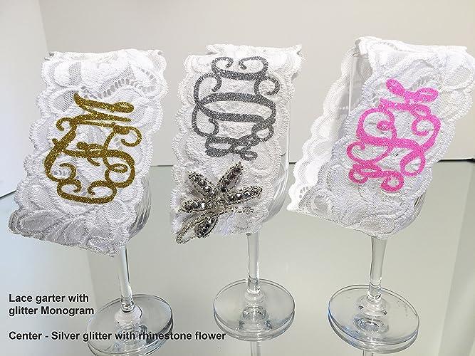 73acb425112 Monogrammed Garter. Wedding garter with sparkling glitter Monogram. Lace  Garter. Add more sparkle by adding a brilliant Rhinestone applique (at an  ...