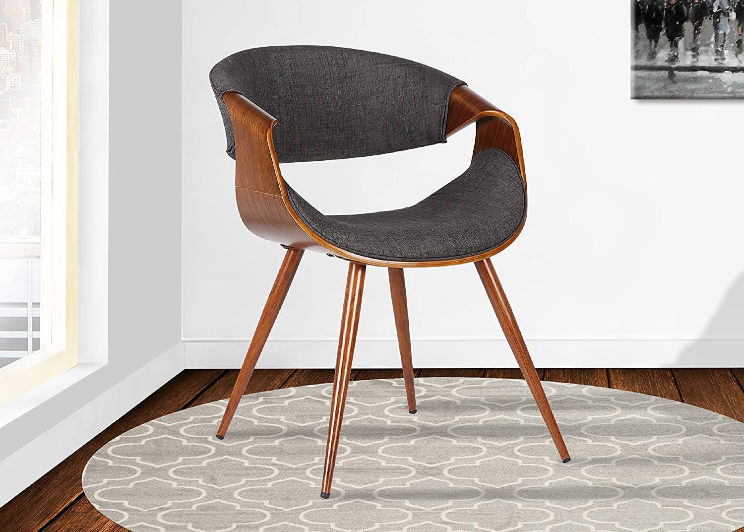 Armen Living Butterfly Dining Chair in Charcoal Fabric and Walnut Wood Finish - Chairs