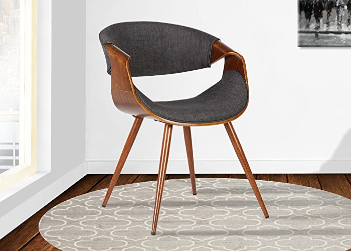 Armen LivingButterfly Dining Chair in Charcoal Fabric and Walnut Wood Finish
