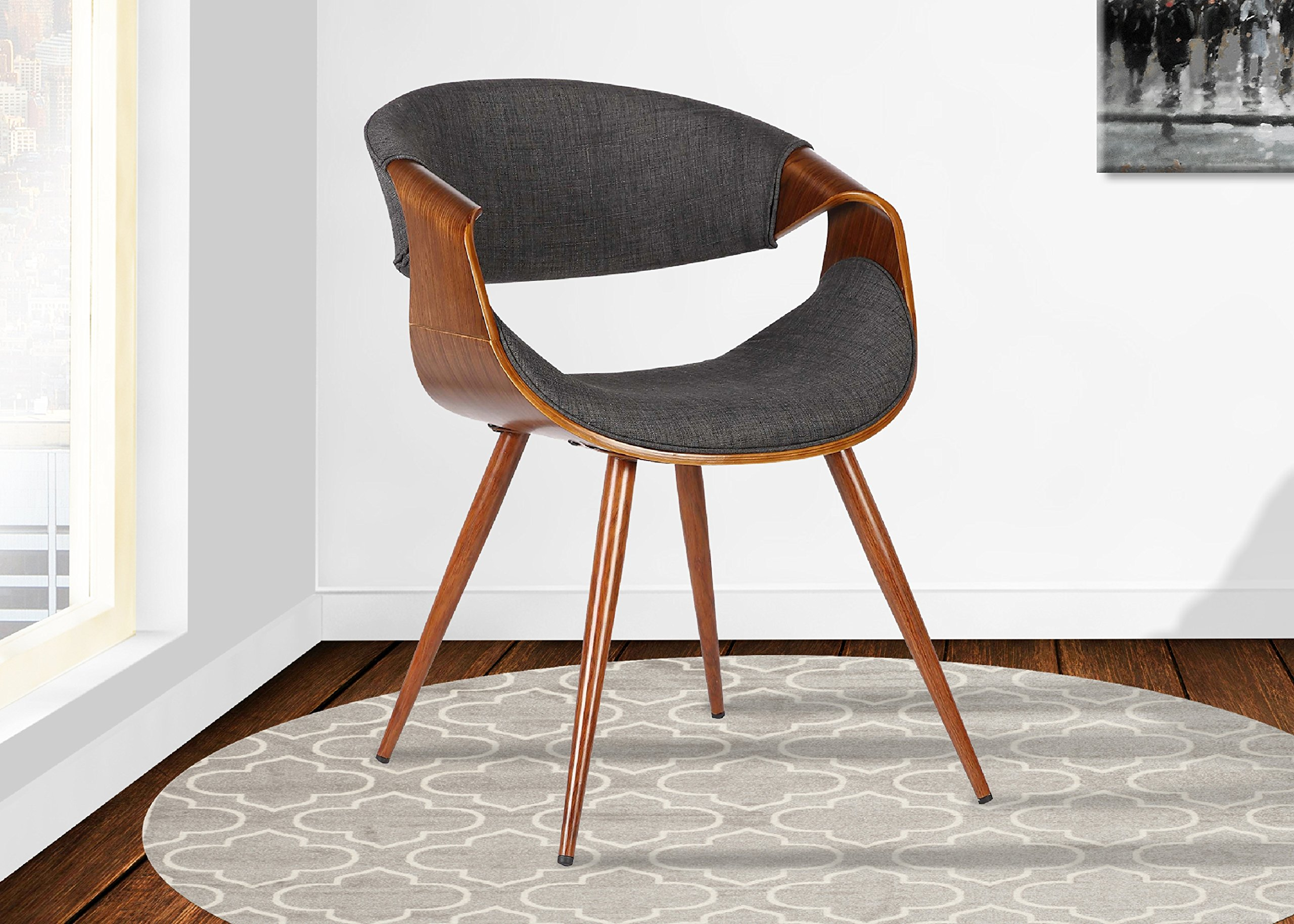 Armen Living  Butterfly Dining Chair in Charcoal Fabric and Walnut Wood Finish by Armen Living