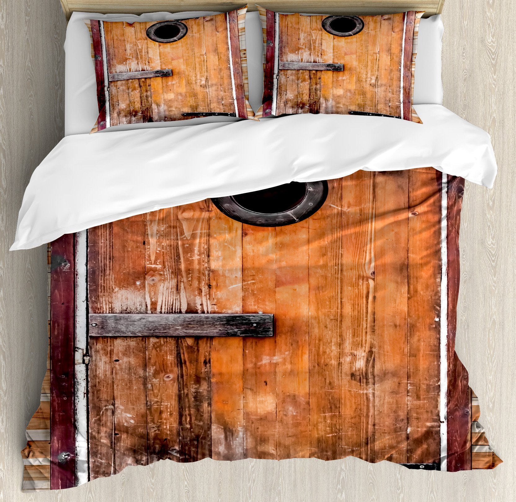 Rustic Duvet Cover Set by Ambesonne, Photograph of Antique Knotted Pine Wood with Control Window Lumber Nature Design, 3 Piece Bedding Set with Pillow Shams, King Size, Caramel Brown