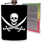 Pirate Jolly Roger Flag Flask Stainless Steel 8oz Large Mens Metal Hip Flasks Skull Flasks for drinking Alcohol and Liquor - Gift Box