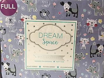 DreamSpace - Juego de sábanas para gatos, perros, flores, corazones en gris (4 unidades): Amazon.es: Hogar