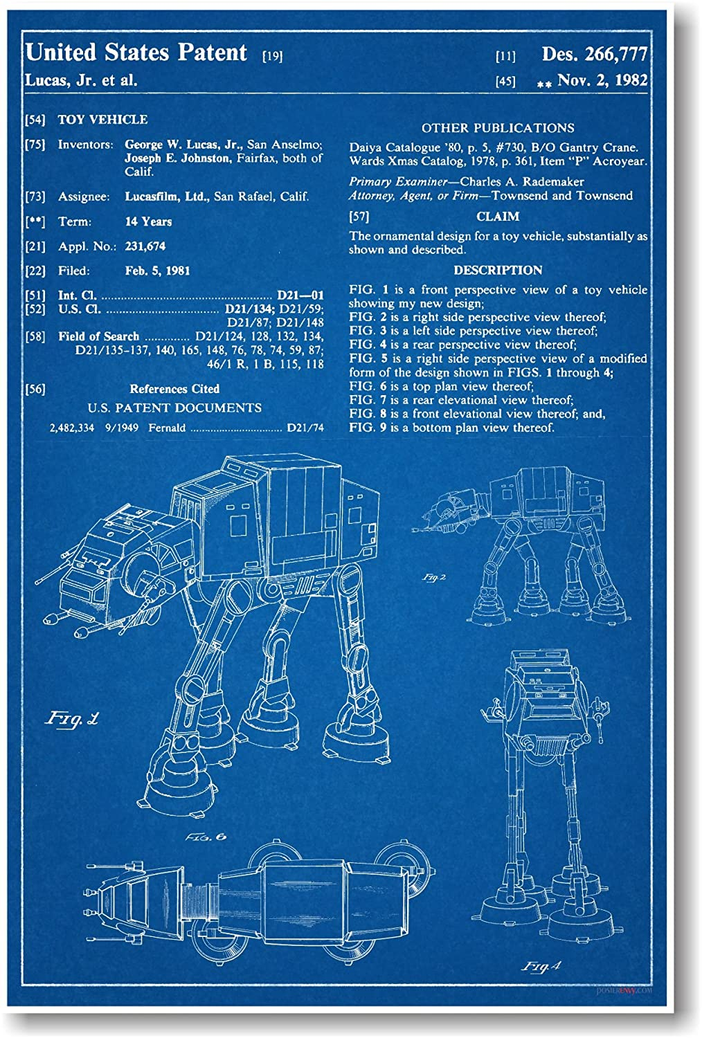 Amazon posterenvy star wars at at patent invention blueprint amazon posterenvy star wars at at patent invention blueprint poster 12 by 18 inch posters prints malvernweather Gallery