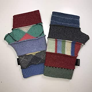 product image for Baabaazuzu Red, Green, Blue & Gray Patterned Women's Upcycled Wool Fingerless Gloves (Made in USA, Fleece-Lined)