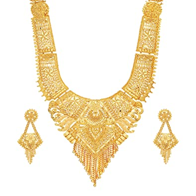 b383bca95c1 Buy Mansiyaorange Party One Gram Gold Wax Forming Work Rani  Haar Juelry jwelery Long Neckalce  Jewellery Set for Women(9 Inch Long)  Online at Low Prices in ...