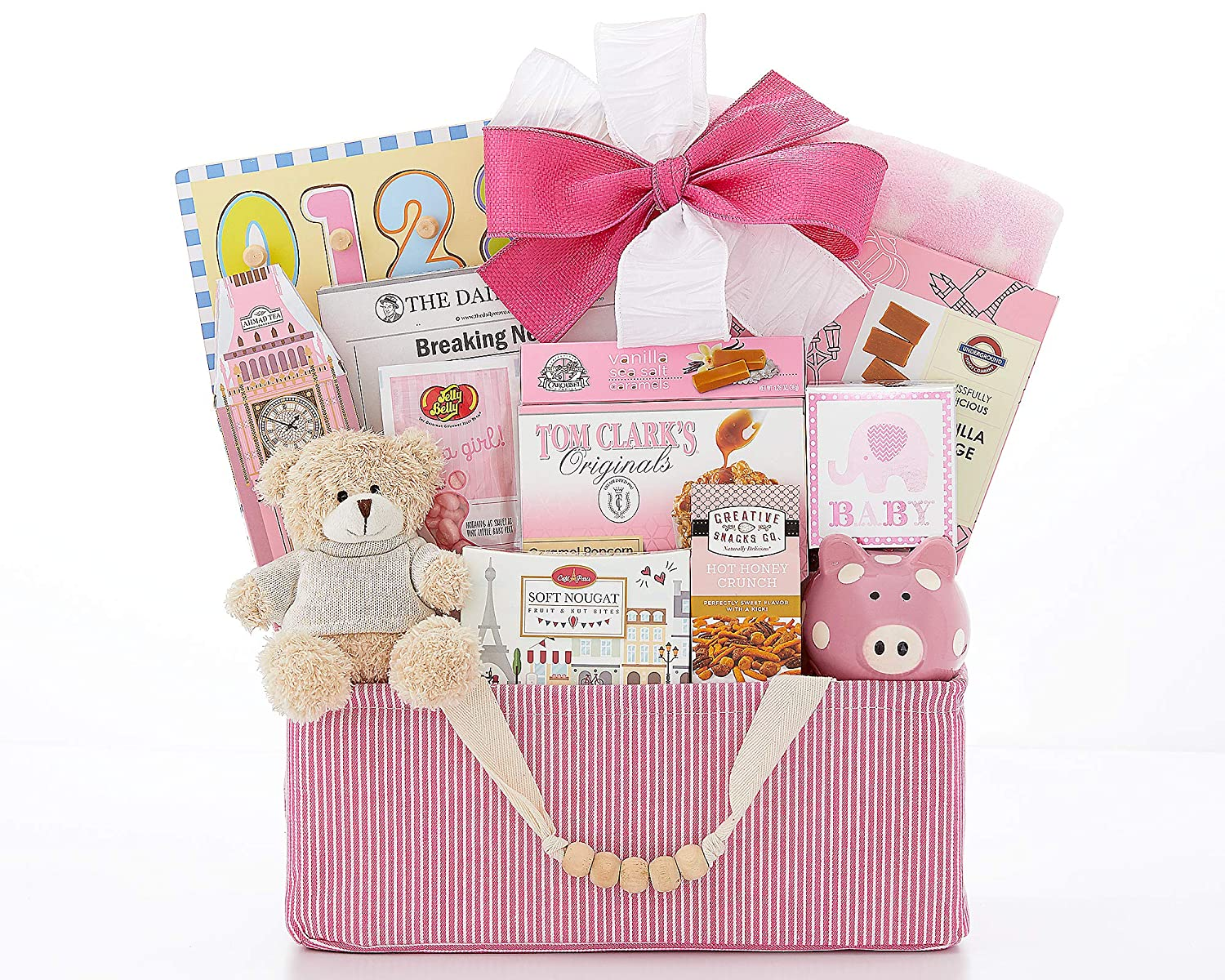 B00021NBLM Newborn Baby Gift Basket The Bundle of Joy Pink Newborn Baby Girl Gift Basket Congratulations Baby Shower Gift Welcome Home by Wine Country Gift Baskets 91MjD7q2BpxL