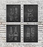 Firefighter Posters Set of 4 Unframed Patent Art Fire Department Decor Boys Room Decor