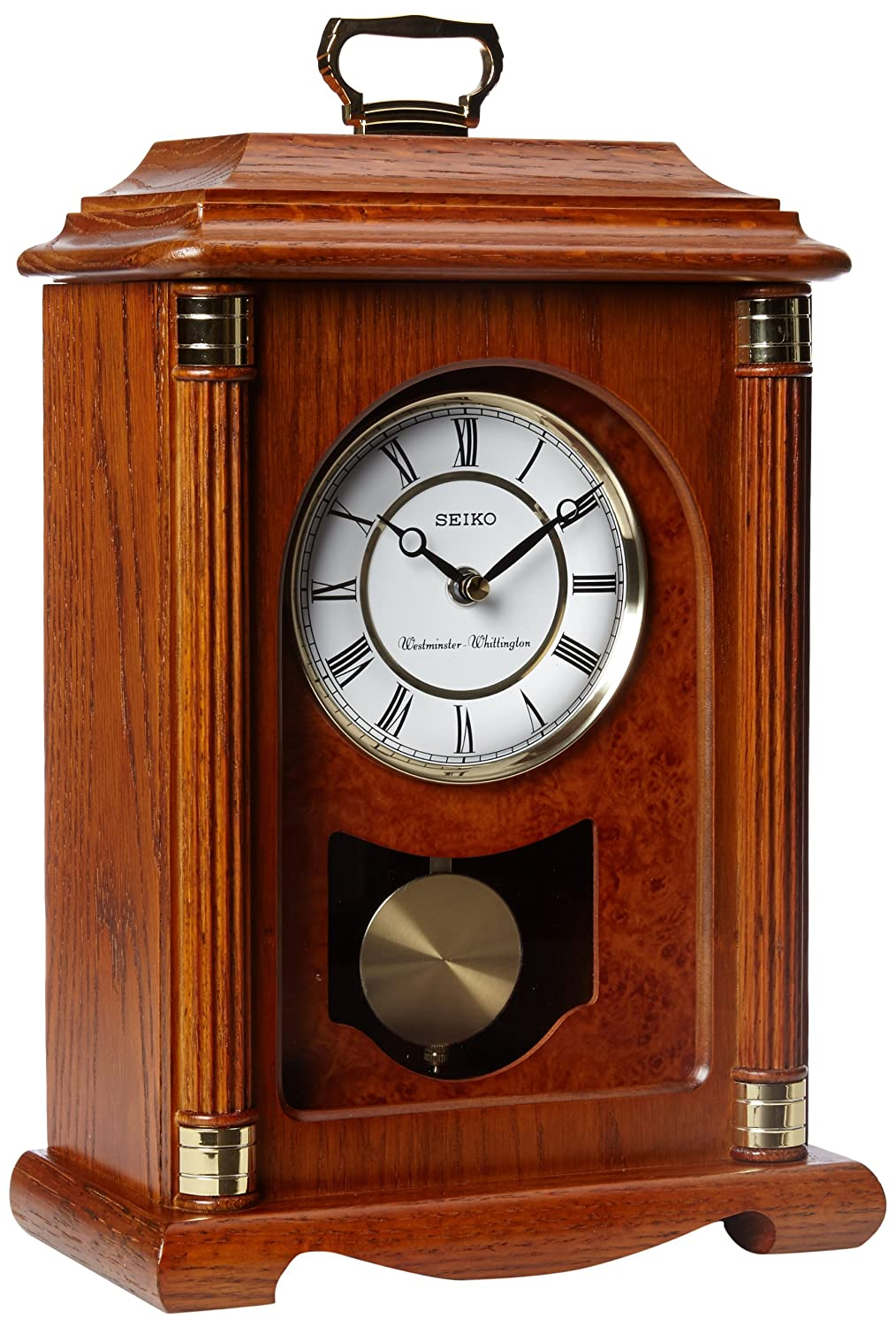 Seiko Mantel Chime with Pendulum Carriage Clock Dark Brown Solid Oak Case Metal Accents QXJ114BLH