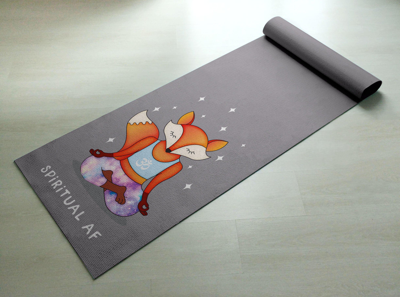 Spiritual AF Orange & Purple Fox Yoga Mat - Practice Yoga In Style [Gift Idea / Fun Present] Exercise Mat / Cute Animal Yoga Mat