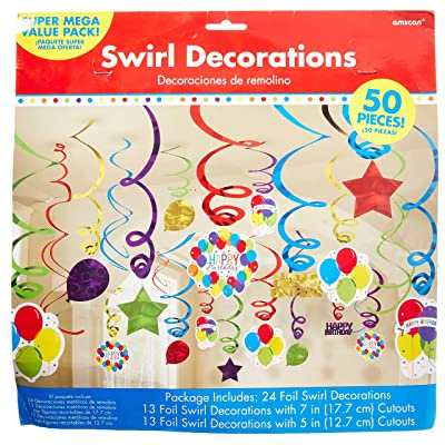 Amscan 671540 Foil Swirl Party Decorations, Assorted Sizes, Multi Color: Kitchen & Dining