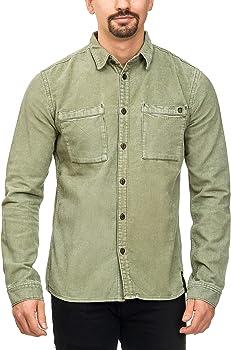 Indicode Caballero Fulham Camisa de Pana con 2 Bolsillos en el Pecho 100 % algodón | Regular Fit Manga Larga Camisa Marca Informal para Hombres Ejército S: Amazon.es: Ropa y accesorios