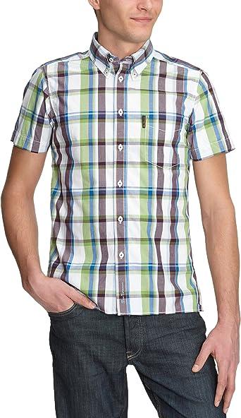 Ben Sherman MC1124MS - Camisas de Manga Corta para Hombre, diseño de Cuadros Verde (23 A). 52/54 ES: Amazon.es: Ropa y accesorios