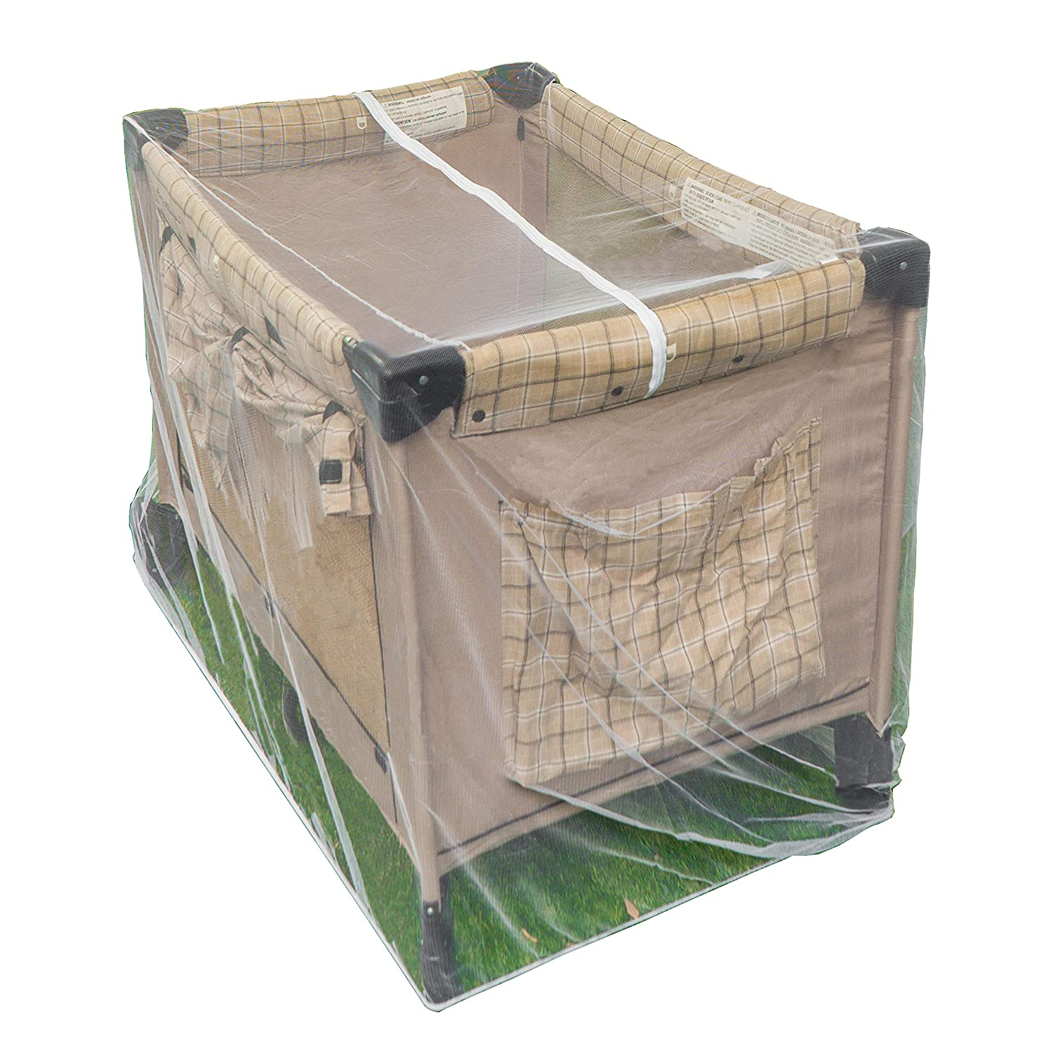Pack n Play Mosquito Net with Zippers - Fits Baby Crib, Stroller and Playpen - Universal Size Portable Durable Mesh Netting with Elastic - Complete with Storage Bag Bonus Vandal Eh Industries