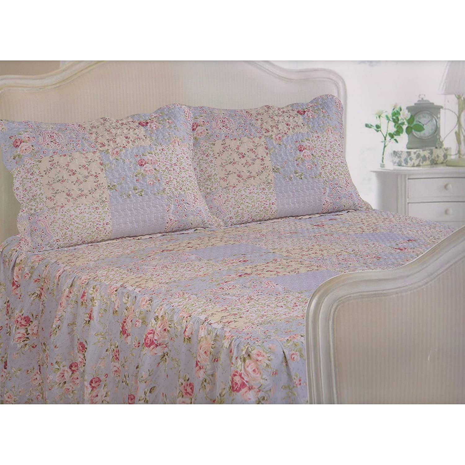 Traditional Vintage Quilted Fitted Bedspread Set Double Size Bedspread & 2 Pillowshams Frilled Utah Home Harmony