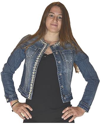 promo code 1e225 b8b3d Miss Bonbon Principe - Giubbino Jeans Donna, Strass Perle Brillantini,  Sexy, Nuova G610