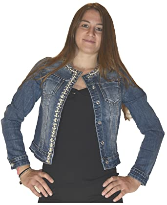 Veste jean femme strass