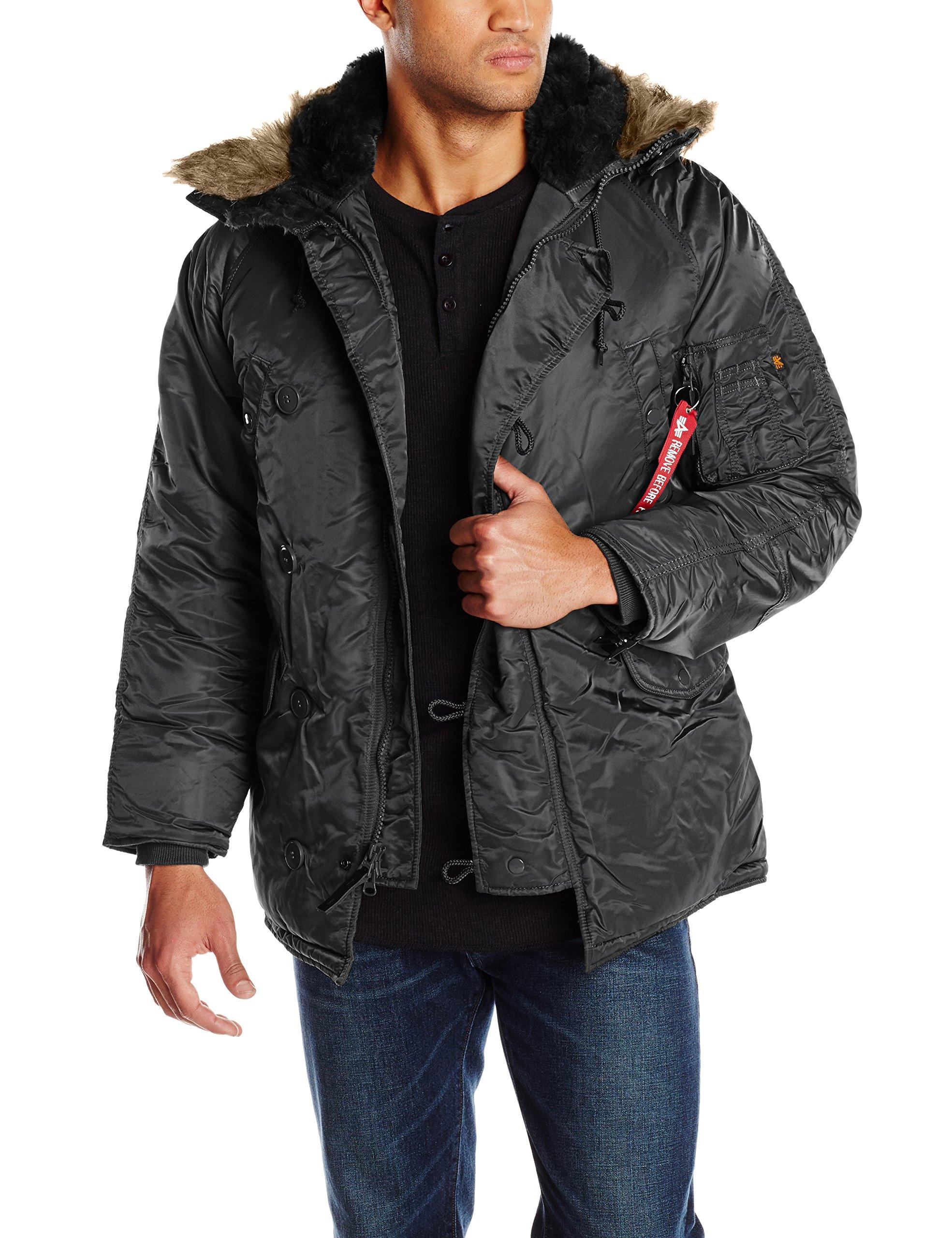 Alpha Industries Men's N-3B Parka Jacket, Black, 4X-Large
