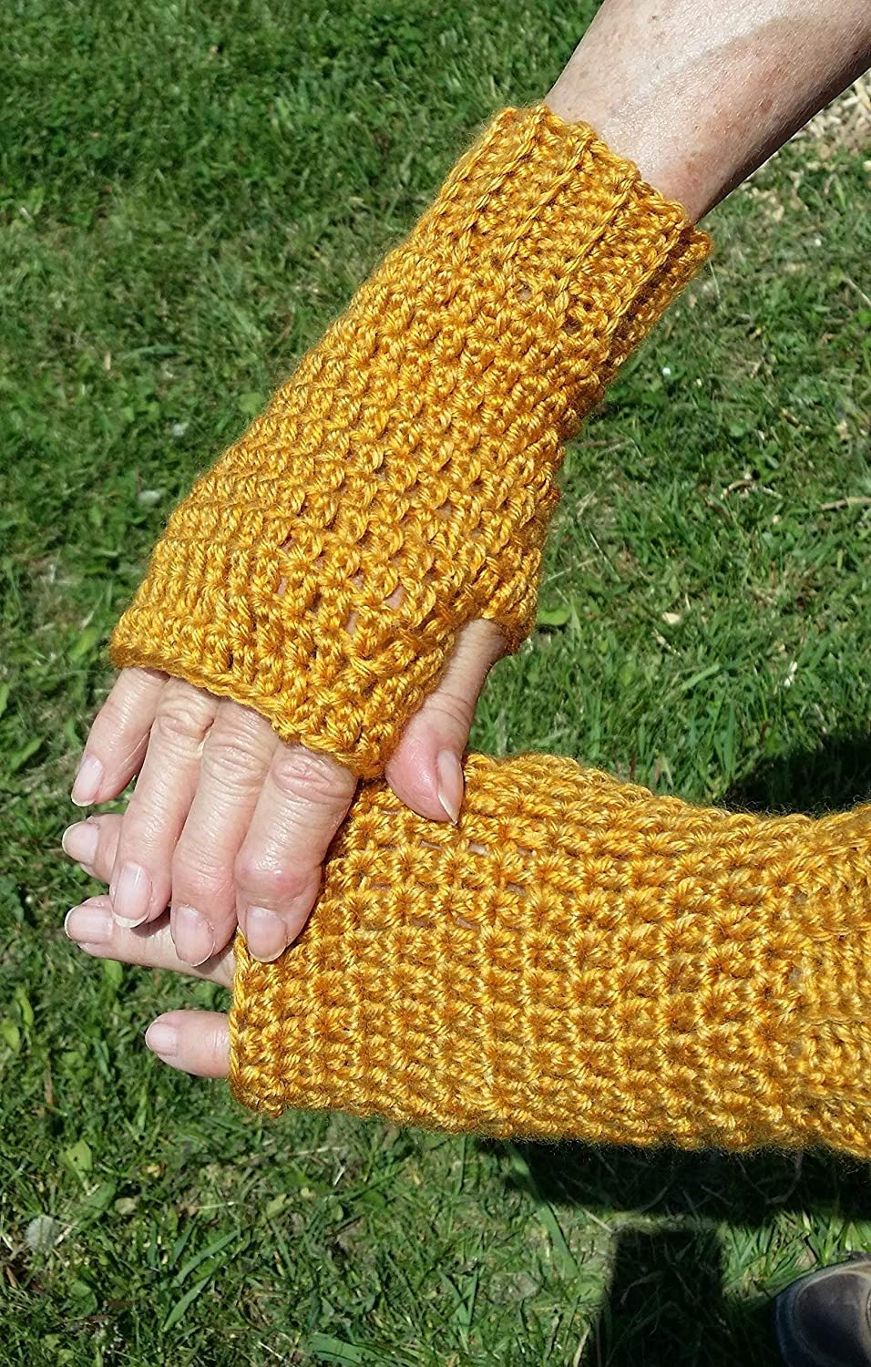 Hand Crocheted Fingerless Texting Gloves, Arthritis Hand Warmers, Golden Yellow