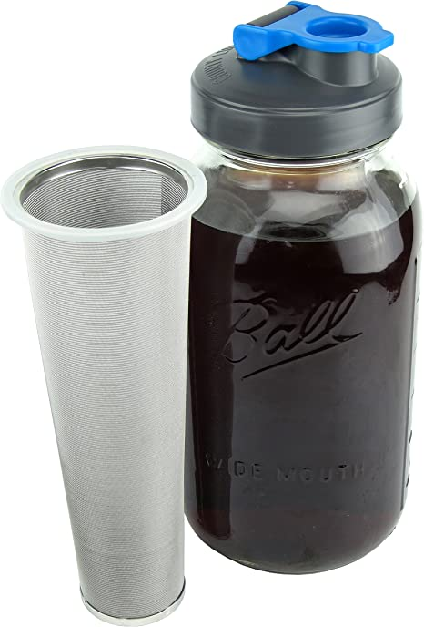 1 Quart County Line Kitchen Mason Jar Cold Brew Coffee Maker with Flip Cap Lid