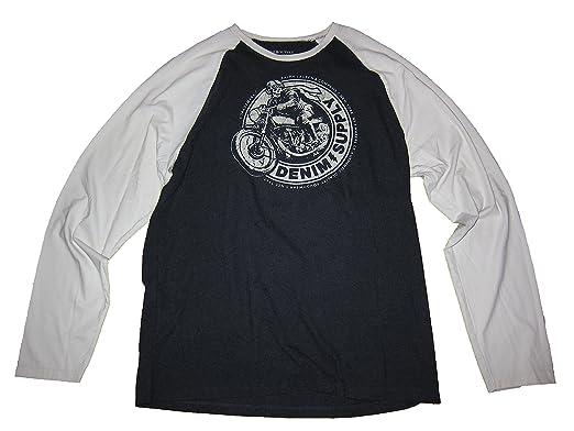 1d529fd39 Ralph Lauren Denim   Supply Mens Skeleton Motorcycle Baseball T Shirt Gray  (Large)