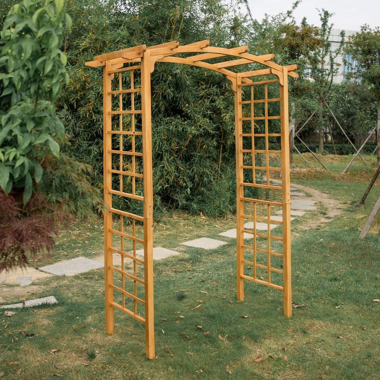 Kintness - Arco de Madera para jardín de 90 Pulgadas de Alto para Escalada de Plantas al Aire Libre, jardín, césped o Patio: Amazon.es: Jardín