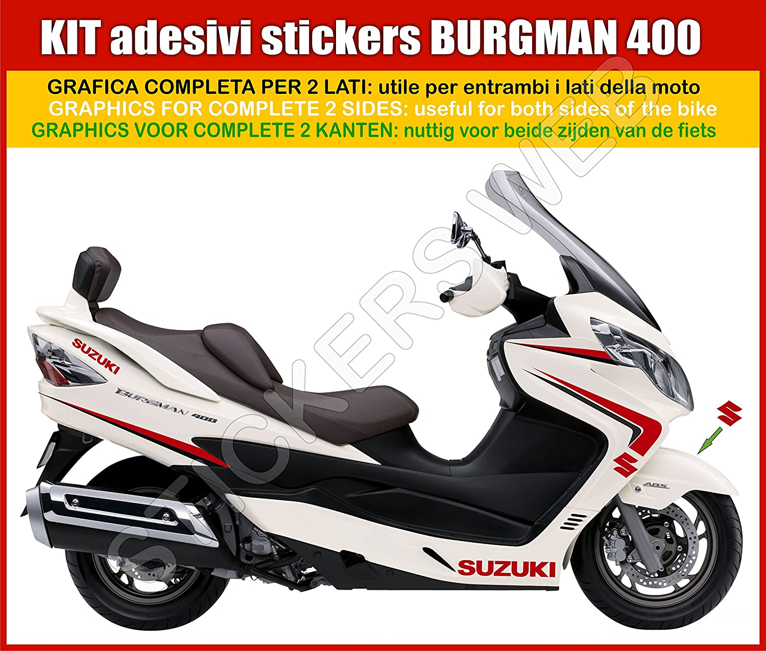 1 Suzuki Burgman Adhesive Stickers 400 -White Fairing- Graphic Full Kit --Code0034 w it is possible to personalise the colours