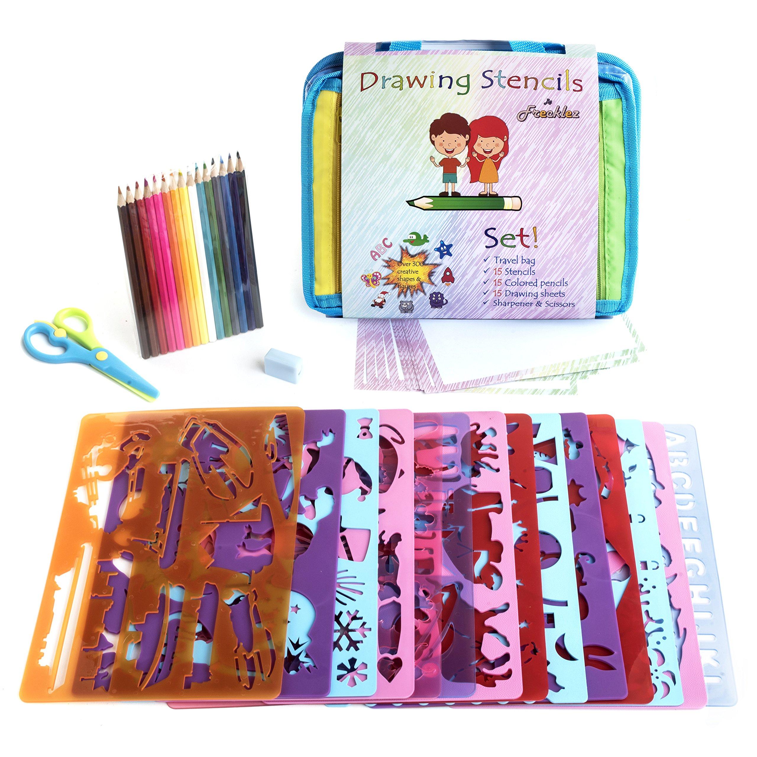 Frecklez stencil set stencil kit for kids fabric travel bag with