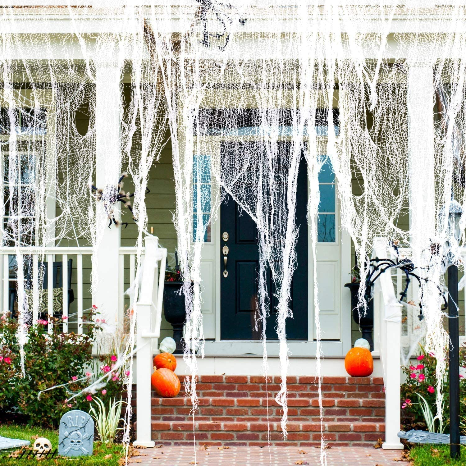Halloween Creepy Cloth Decor 30x400 inch, Large Size Spooky Scary Fabrics Decoration with Fluorescent bat for Haunted Houses Party Supplies Doorways Outdoors Indoors Decoration-White