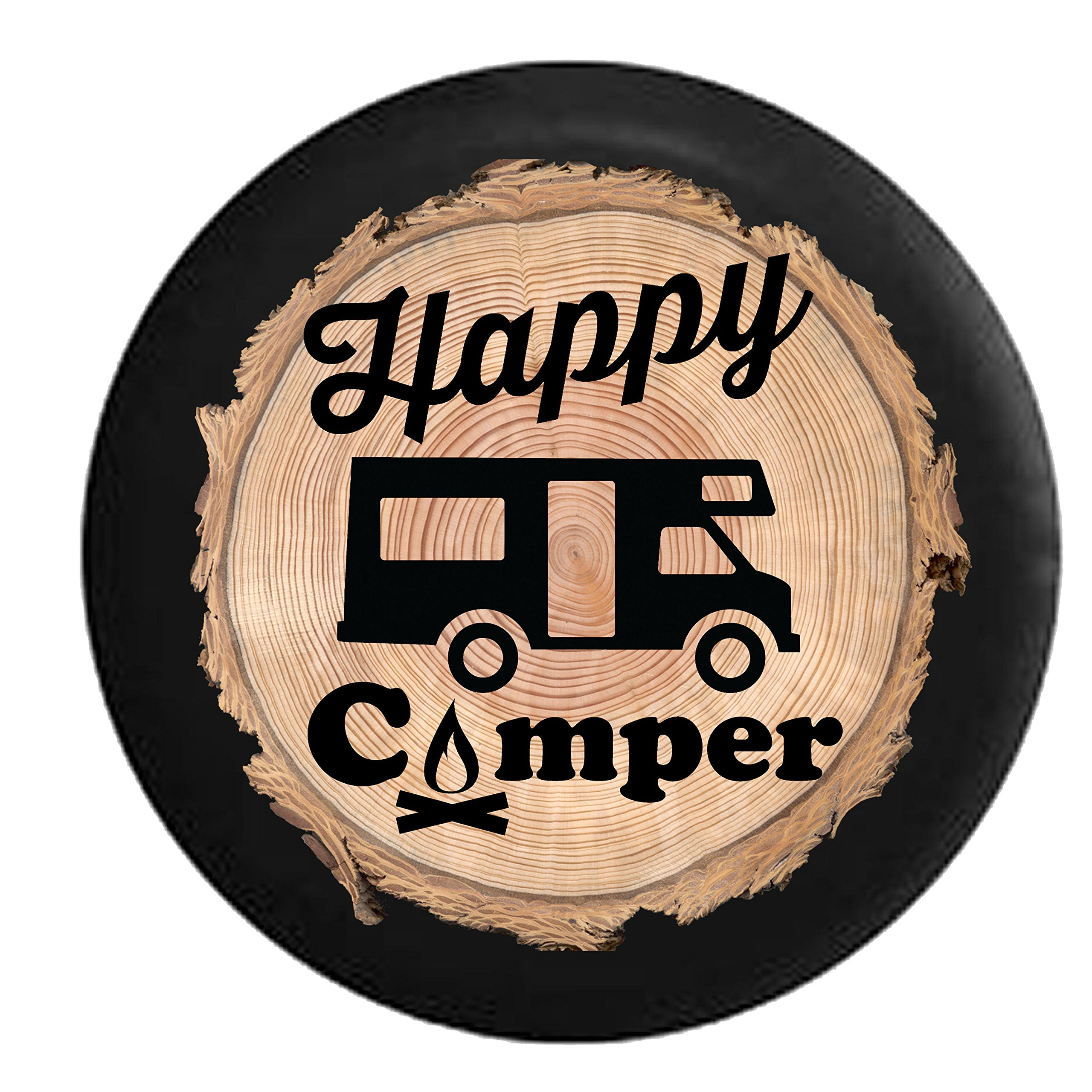 Firewood Series - Happy Camper Camp Fire Recreational Vehicle Motorhome RV Spare Tire Cover Black 35 in