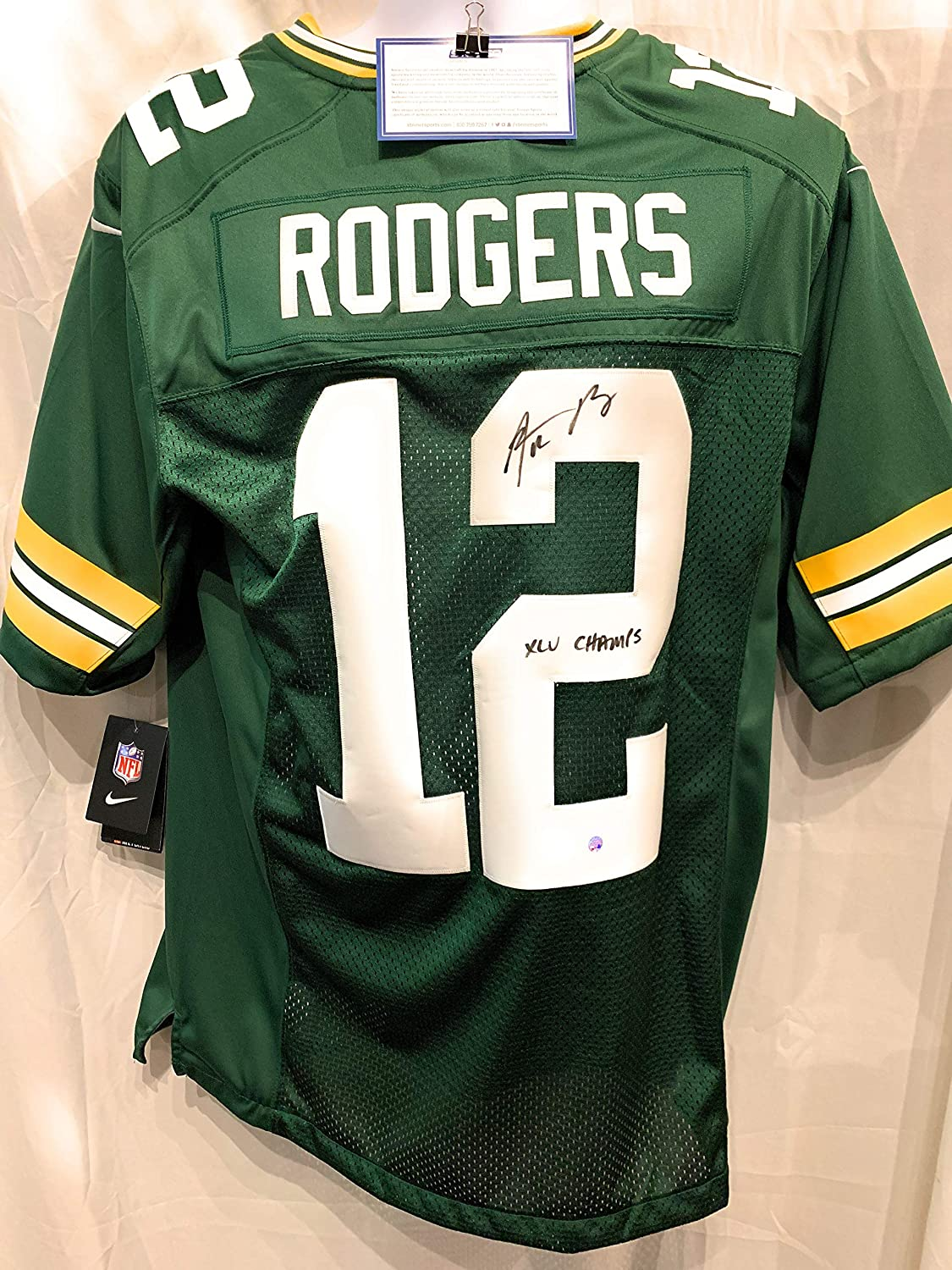 the best attitude 3b31c 121a7 Aaron Rodgers Green Bay Packers Signed Autograph Nike Embroidered Game  Jersey SUPER BOWL XLV CHAMPS INSCRIBED Steiner Sports Certified