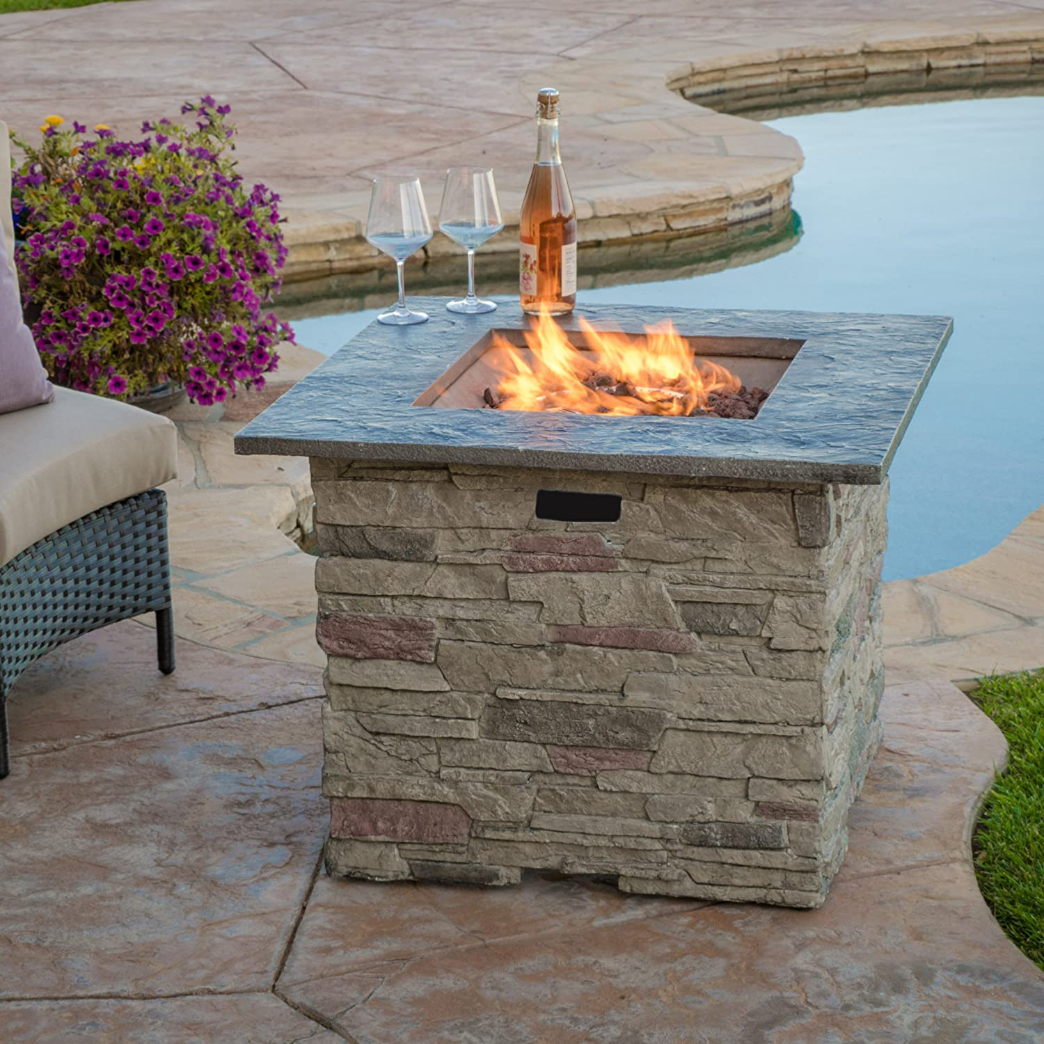 "Amazon Rogers 32"" Stone Square Fire Pit with Counter Top"