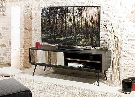 MACABANE – Mueble TV 1 Puerta Corredera 2 nichos, Madera, Multi Colores, 150 x 45 x 56 cm: Amazon.es: Hogar