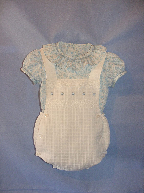 Conjunto de ranita de piqué blanco y camisa estampada: Amazon.es: Handmade