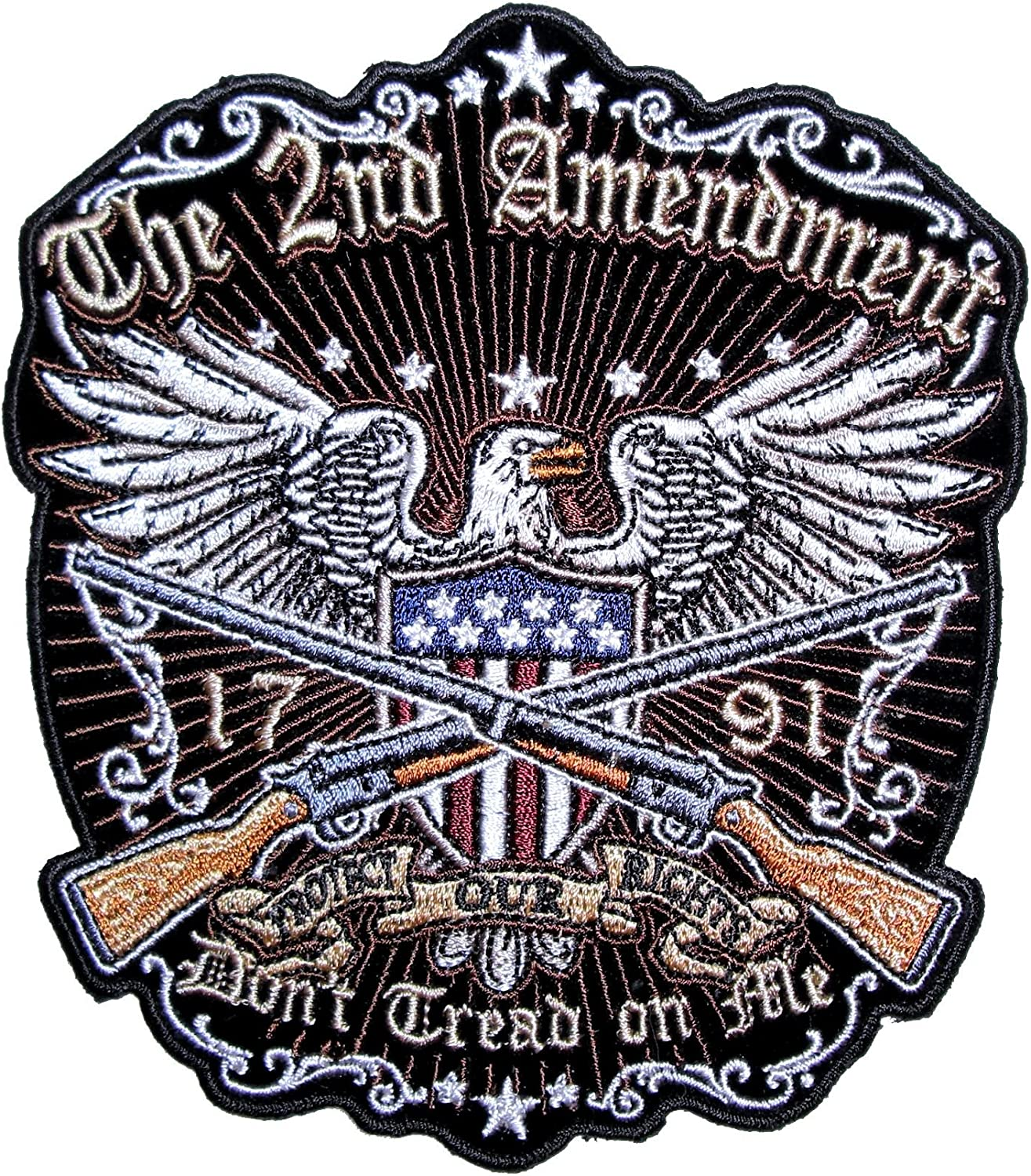 Don/'t Tread On Me American Eagle Biker Patch Large Patriotic The 2nd Amendment