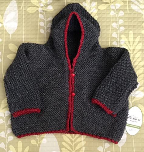 ab0da7c25 Amazon.com  Cute Hand Knit Baby Hooded Sweater--Grey with Red Trim ...