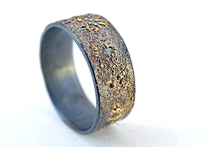Molten Wedding Band Silver Gold Unique Mens Ring Mixed Metal Promise Viking