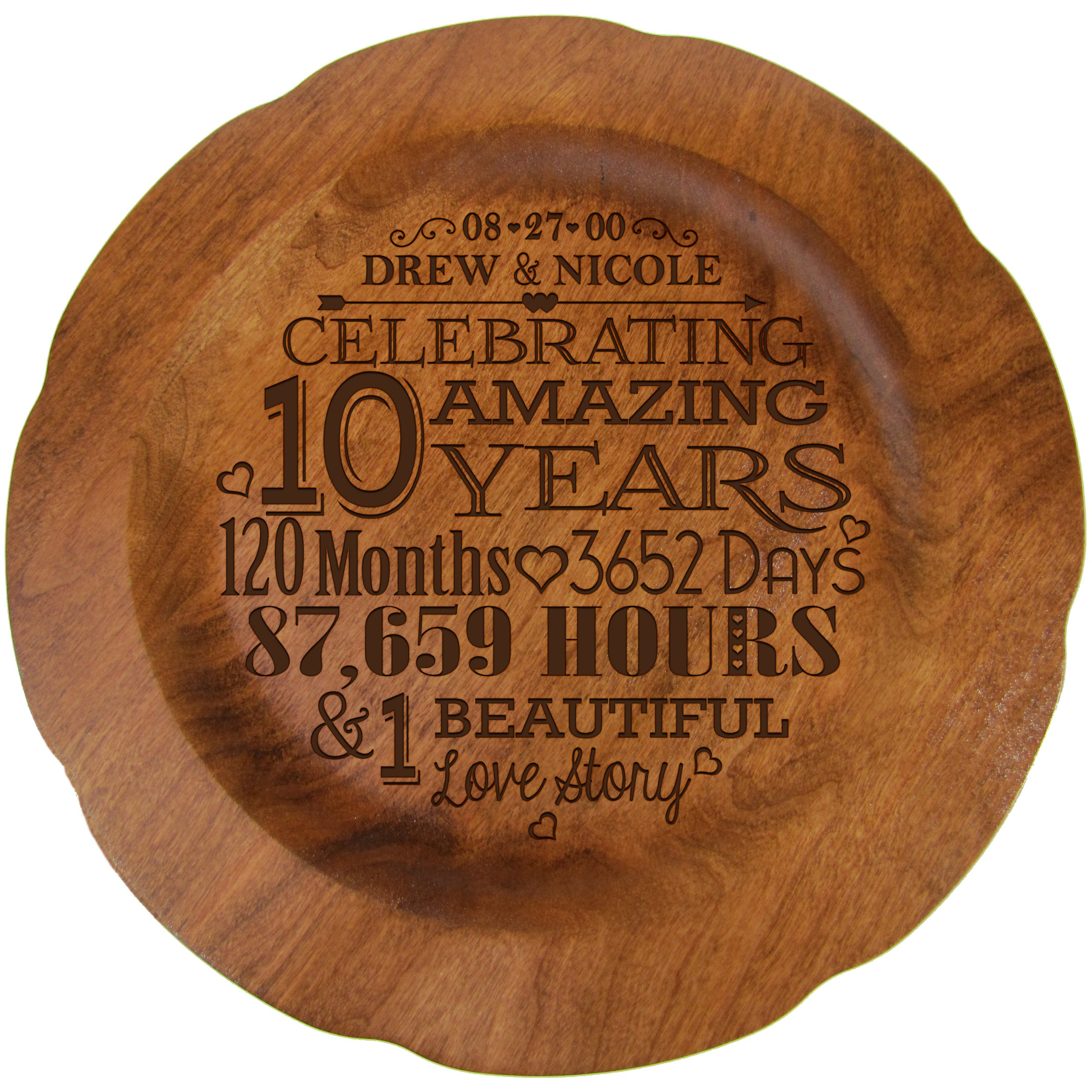 Personalized 10th Wedding Anniversary Plate 12'' Custom Engraved for Husband, Wife, Couple by LifeSong Milestones USA Made (10th Year with Special Dates)