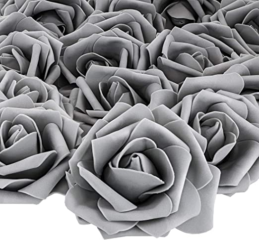 Bright Creations Artificial Rose Flower Heads Black and White, 100 Pack