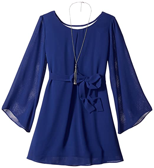 984ffa5ed6c2 Amazon.com  Amy Byer Girls  Big Bell Sleeve Lace Back Dress with Belt   Clothing