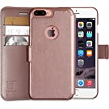 LUPA iPhone 8 Plus Wallet Case, Durable and Slim, Lightweight with Classic Design & Ultra-Strong Magnetic Closure, Faux Leather, Rose Gold, Apple 8 Plus