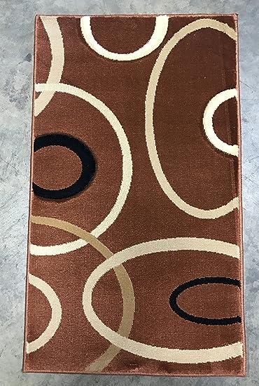Amazon Com Contempo Modern Door Mat Area Rug Brown Rust 400 000