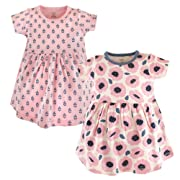 Touched by Nature Baby Girls' Organic Cotton Dress, 2 Pack, Blossoms, 0-3 Months (3M)