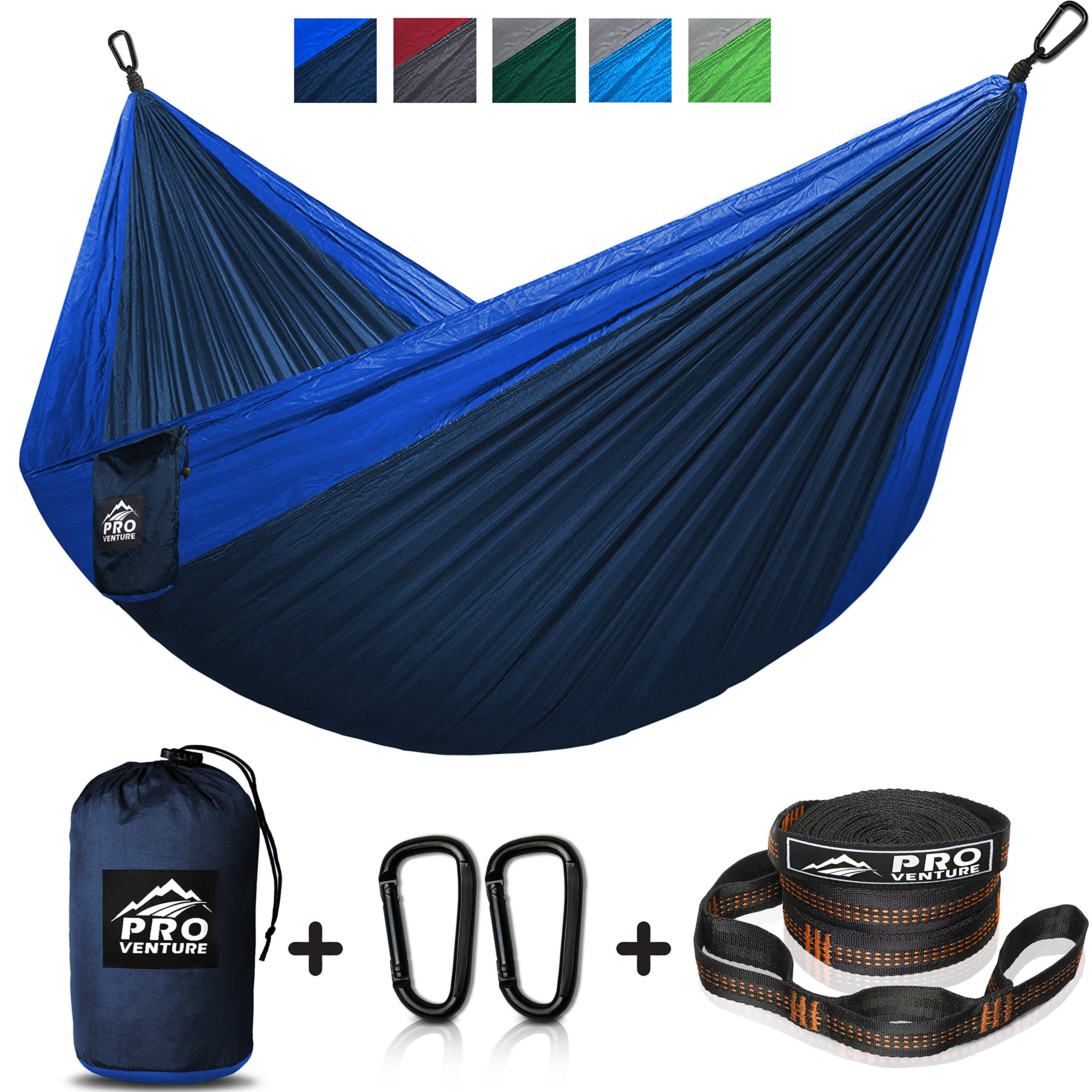 Double and Single Camping Hammocks - Hammock with Free Premium Straps & Carabiners - Lightweight and Compact Parachute Nylon. Backpacker Approved and Ready for Adventure! by Pro Venture