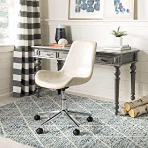Safavieh Home Fletcher Beige Faux Leather and Chrome Swivel Office Chair