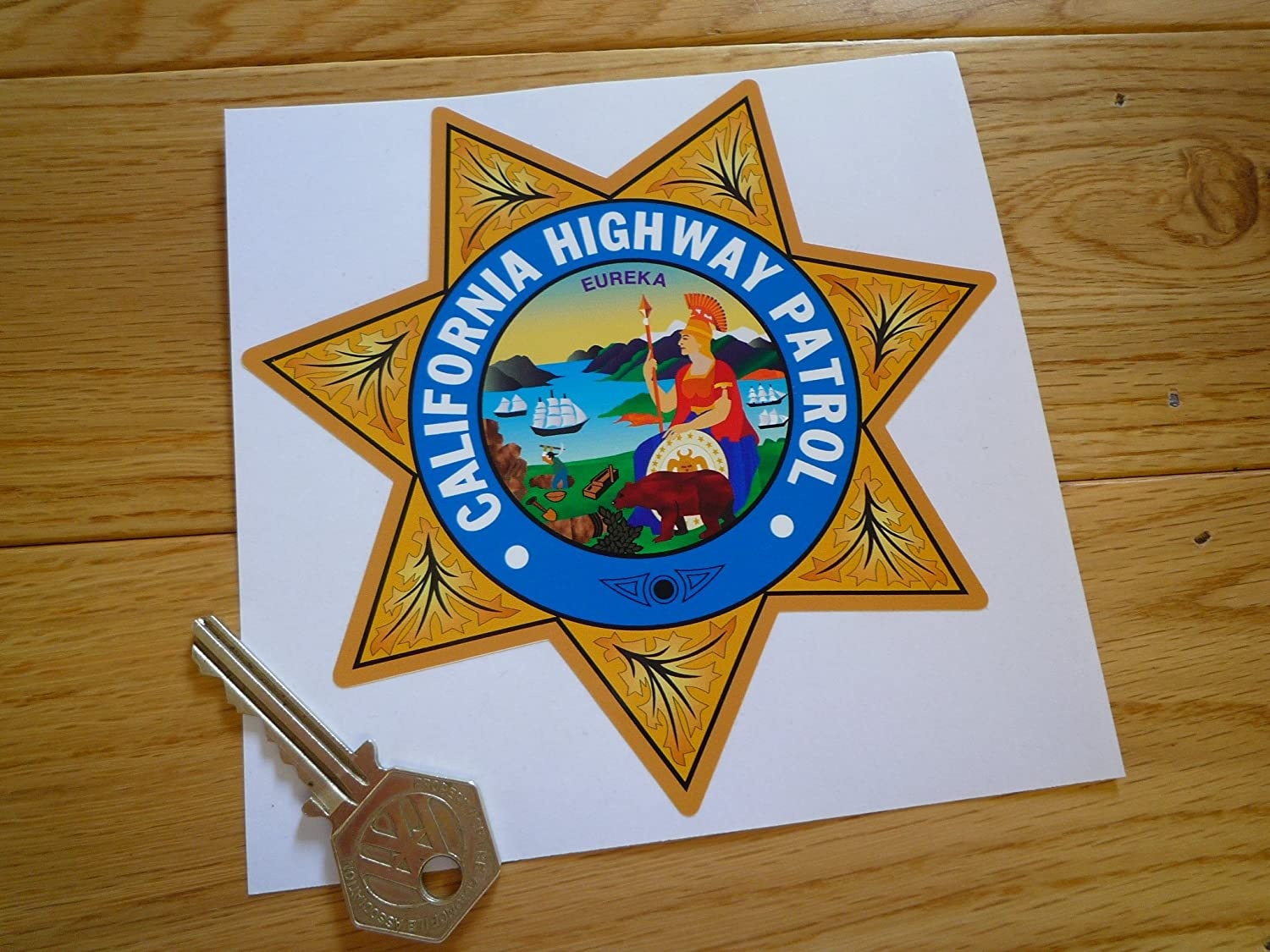 I Say Ding Dong Autoaufkleber California Highway Patrol Star Shield 12 7 Cm Auto