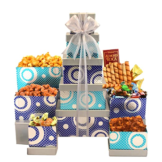 Broadway Basketeers Gourmet Celebration Gift Tower with Gourmet Popcorn Valeantine gifts