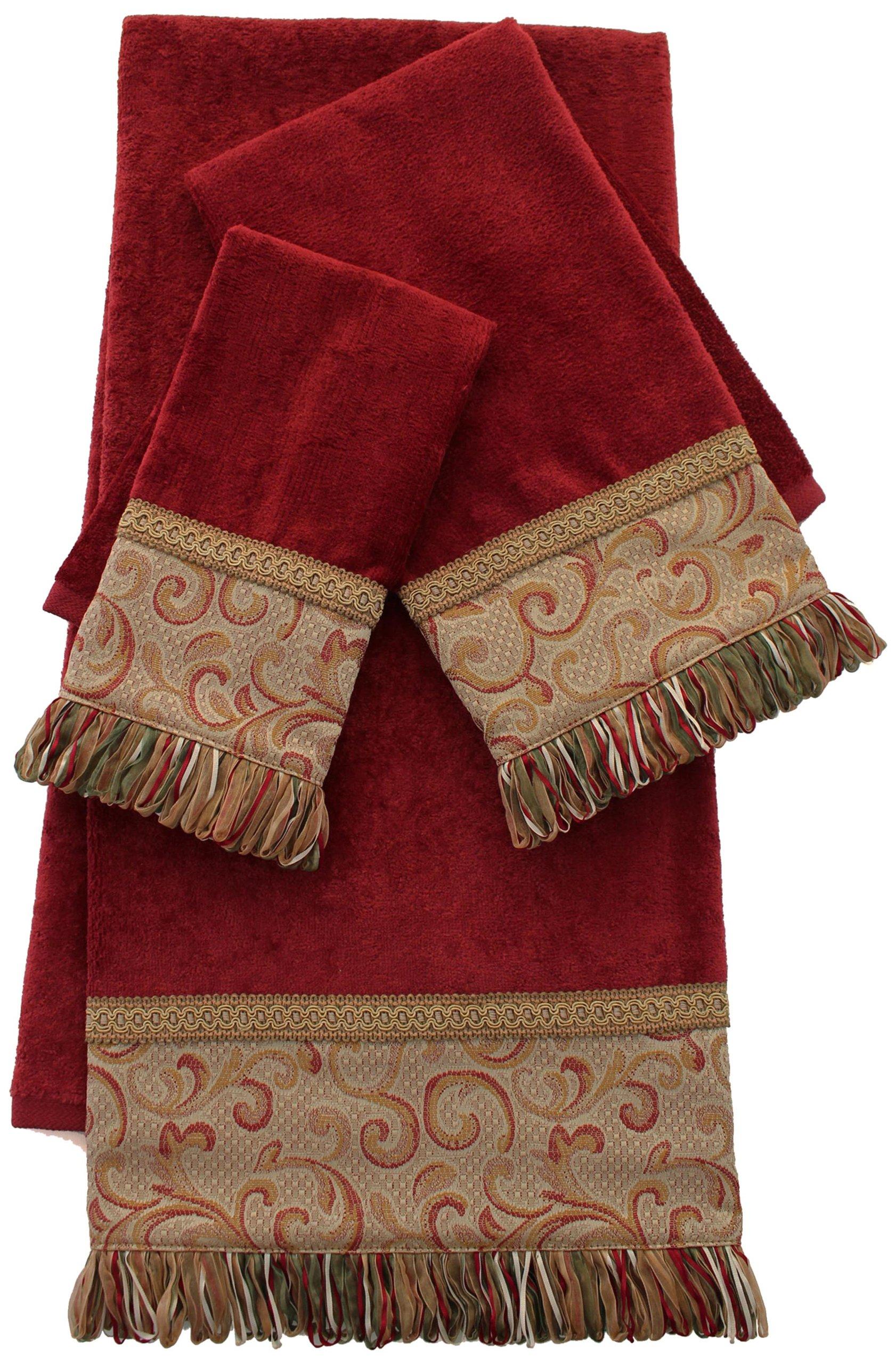 Sherry Kline Swirl Paisley 3-Piece Decorative Towel Set, Red