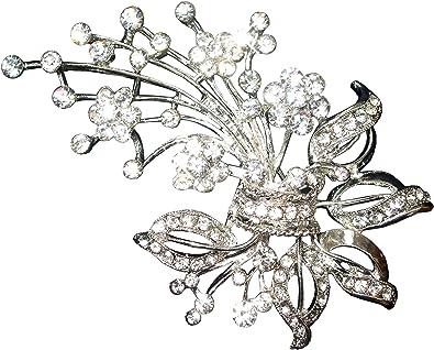 Silver Flower Crystal Diamante Bouquet Brooch Pin Broach Women Wedding Bridal UK